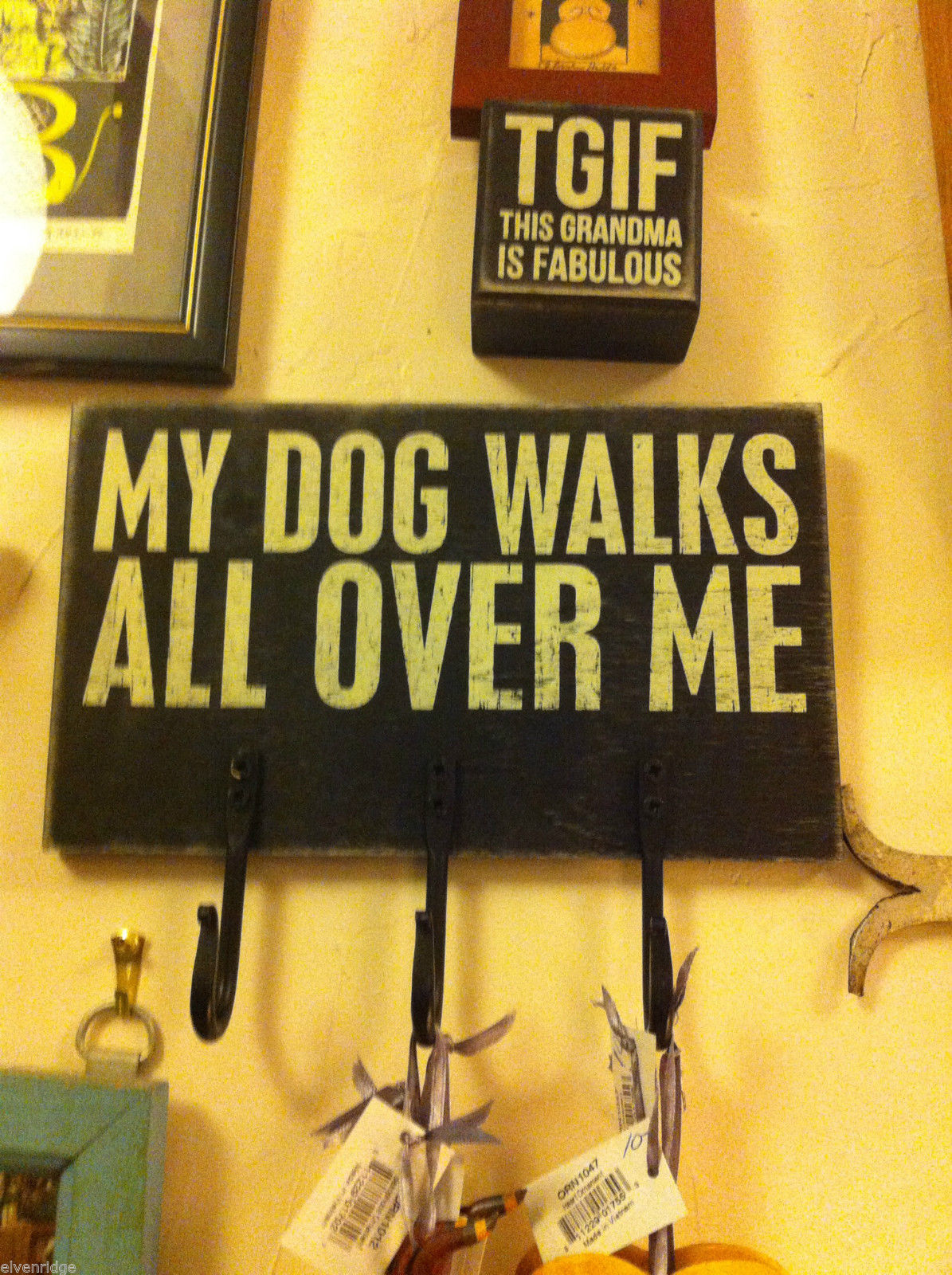 Rustic black wooden three hook key or dog leash holder My Dog Walks All over me