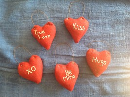 Rustic country hand made stitched Valentine's heart ornaments