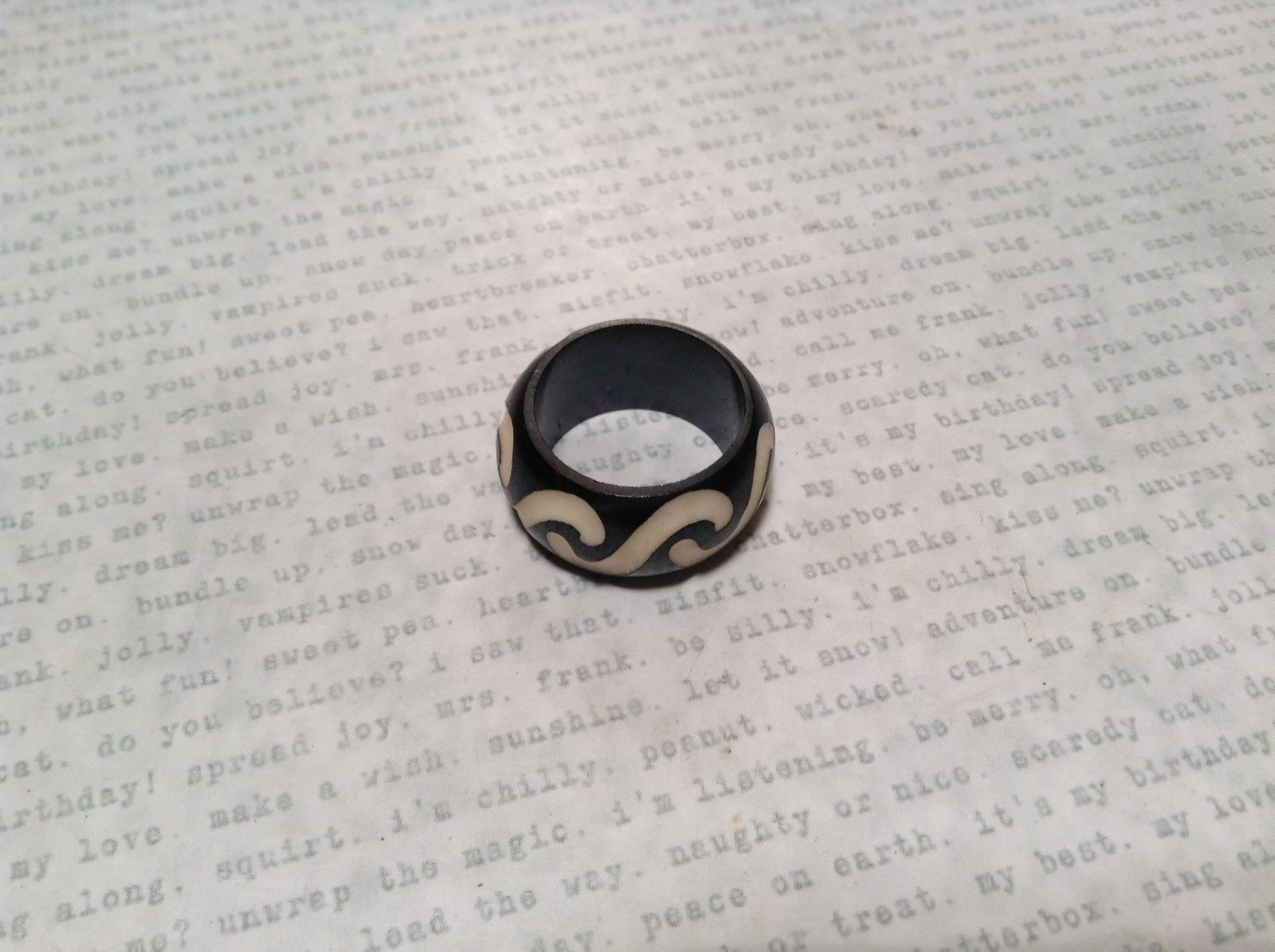 S Pattern Wooden Hand Carved Ring Size 9.5, 6.5 or 5.5