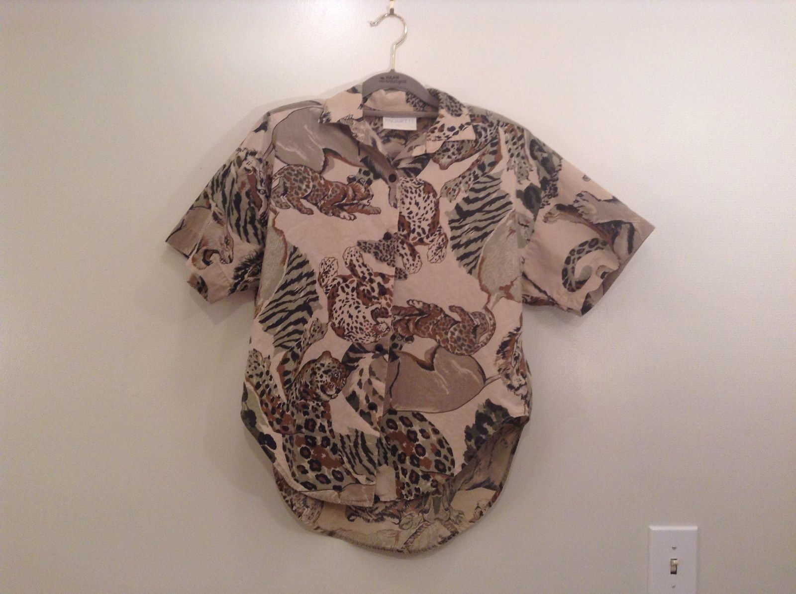 Safari Team Print Animals Brown Gray Short Sleeve Shirt Ms Paquette Size Small