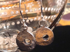 Rustic Textured Circle Donut Sterling Silver Shiny Drop Earrings image 1