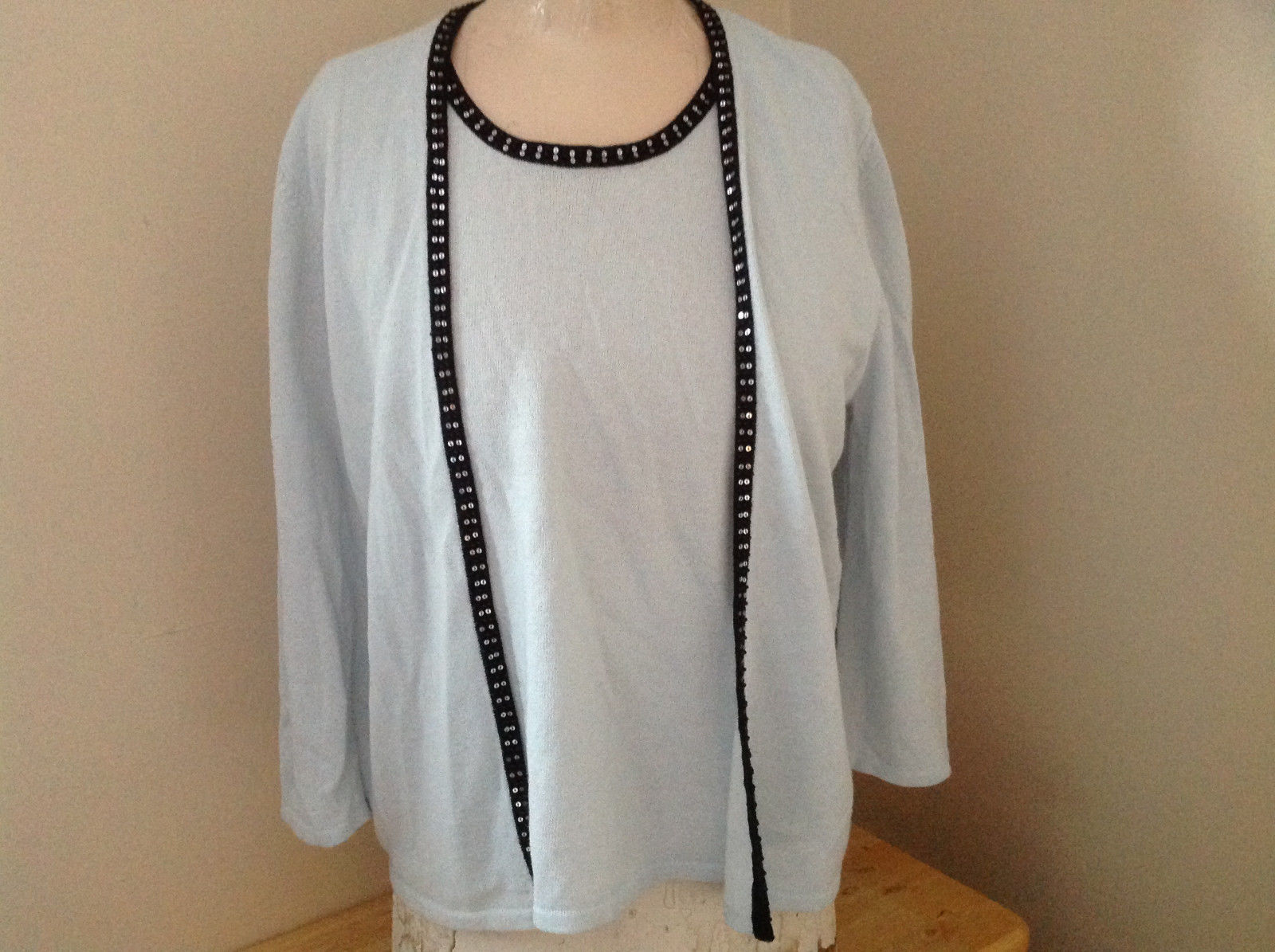 Sag Harbor Baby Blue Black Beaded Trimmed Sweater with Attached Shirt Size XL