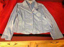 Sag Harbor Ladies Light Blue Stretch Blazer 3 Button 2 Pockets Size 10P