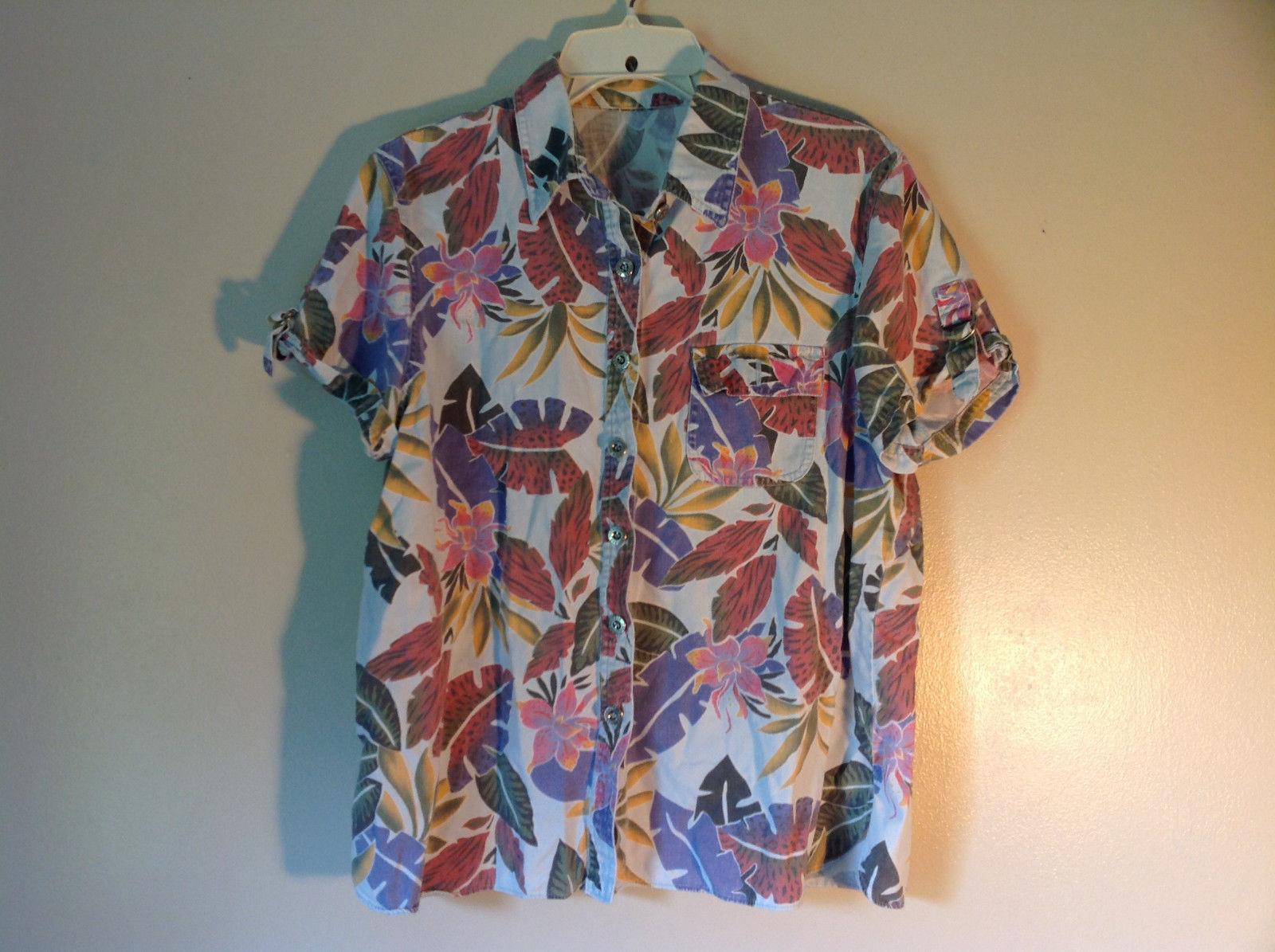 Sag Harbor Hawaiian Motif Button Up Collared Shirt w Adjustable Sleeves No Tag