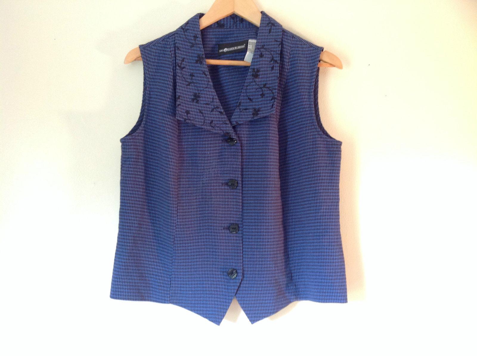 Sag Harbor Blue Vest Size 10 Plaid Floral Pattern Four Front Button Closure