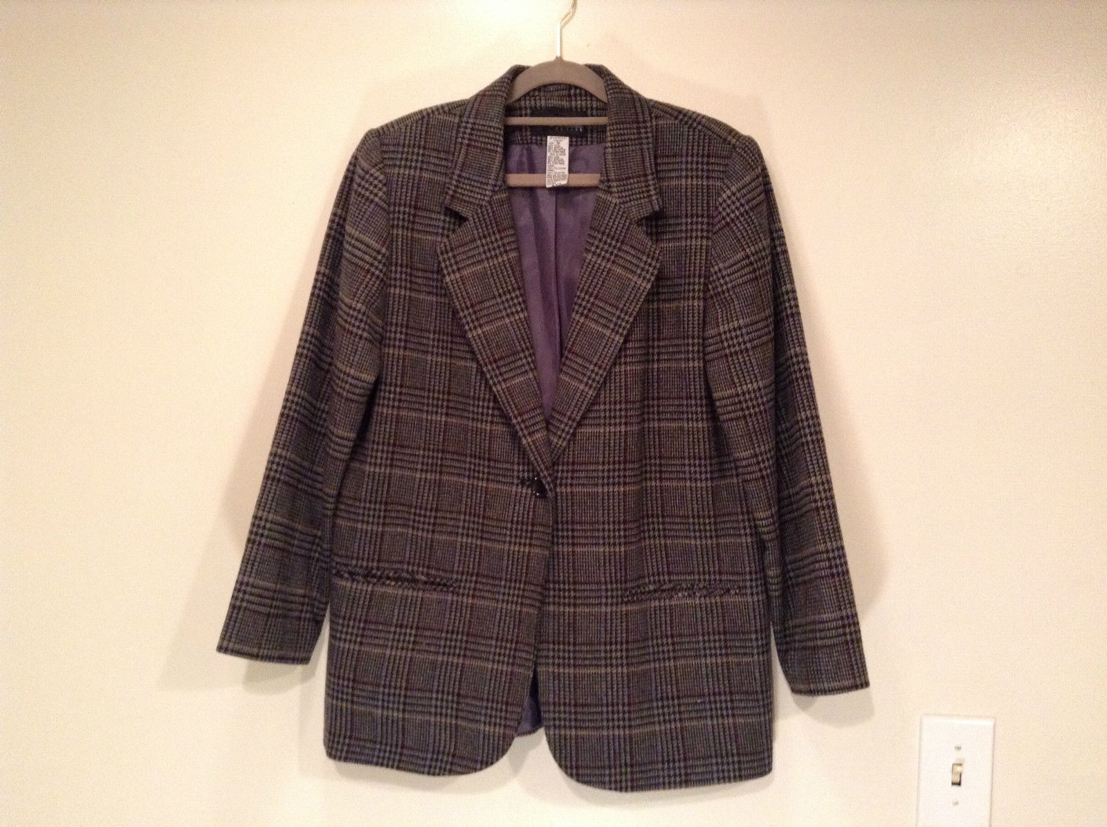 Sag Harbor Dark Gray Plaid Fully Lined Blazer Suit Jacket Size 10 Petite