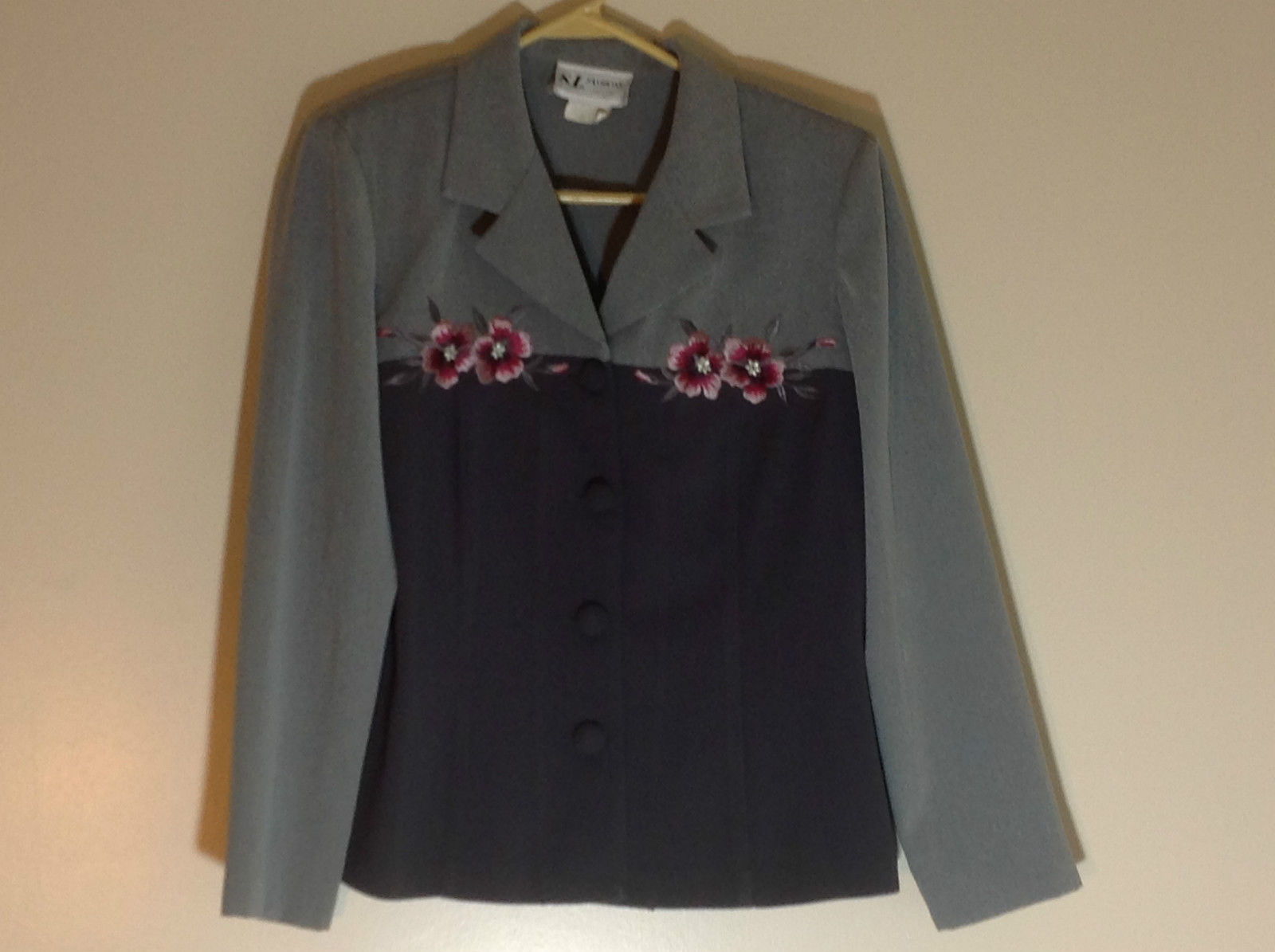 S. L. Fashions Petites Grey Two Tone Button Up Blazer Size 12 Petite