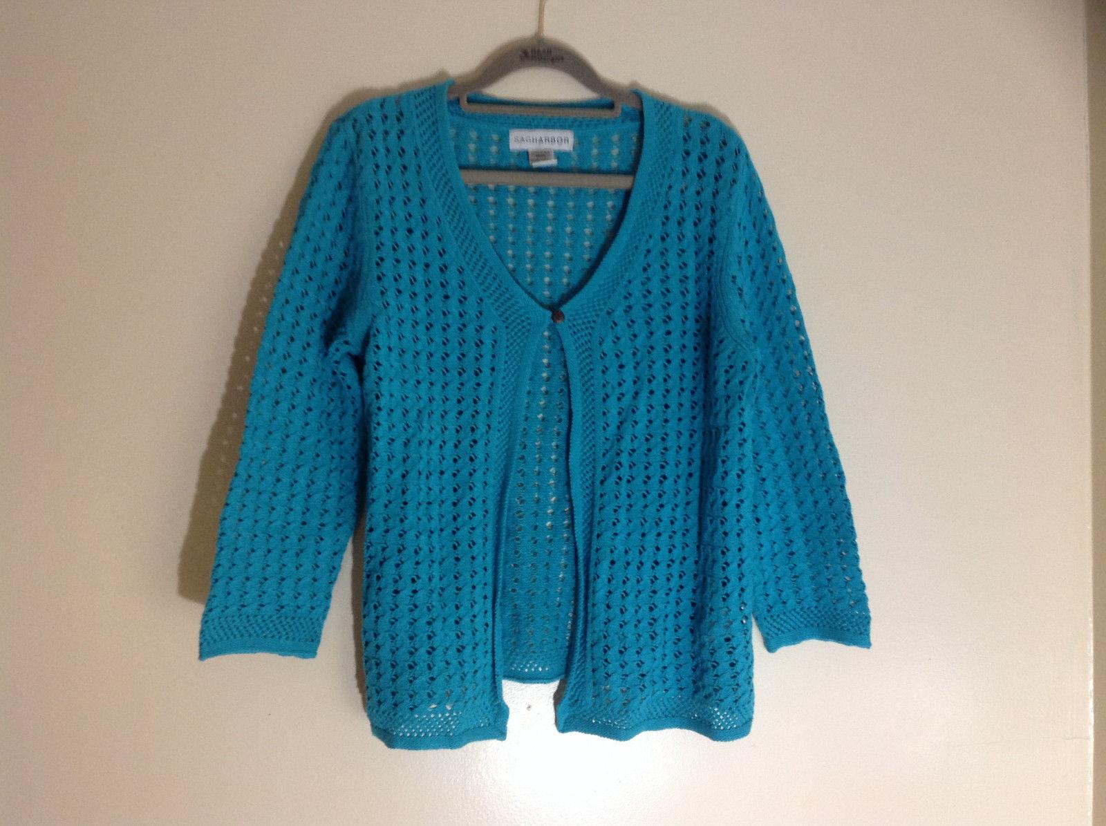 Sag Harbor Torquoises Three Quarter Length Sleeves Sweater Size Medium