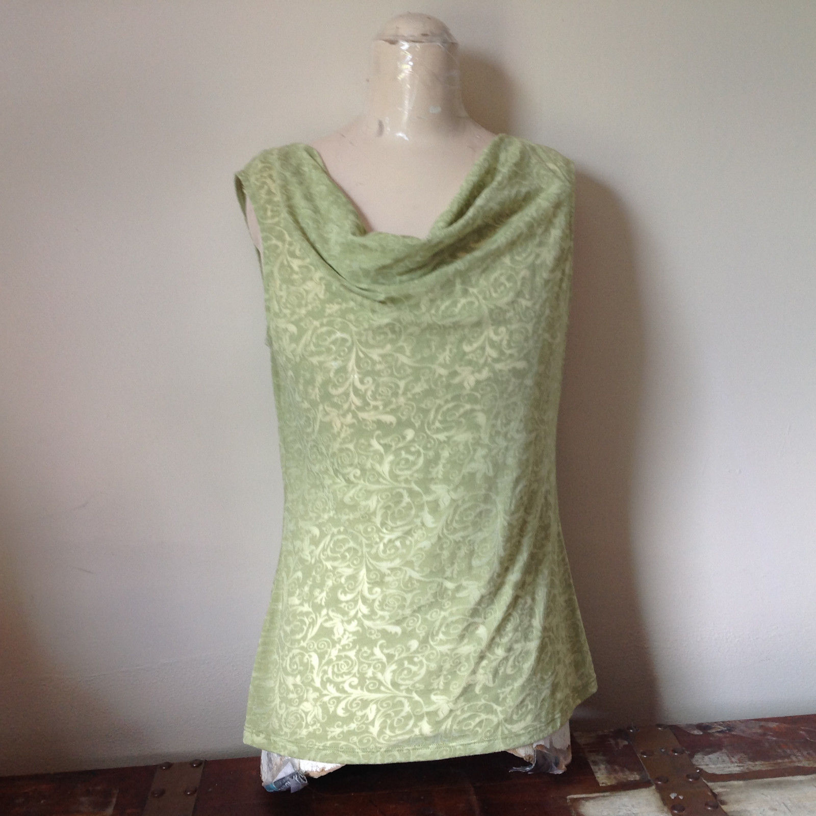 Sage Green Burn Out Design Sleeveless Top with Cowl Neck No Size Tag