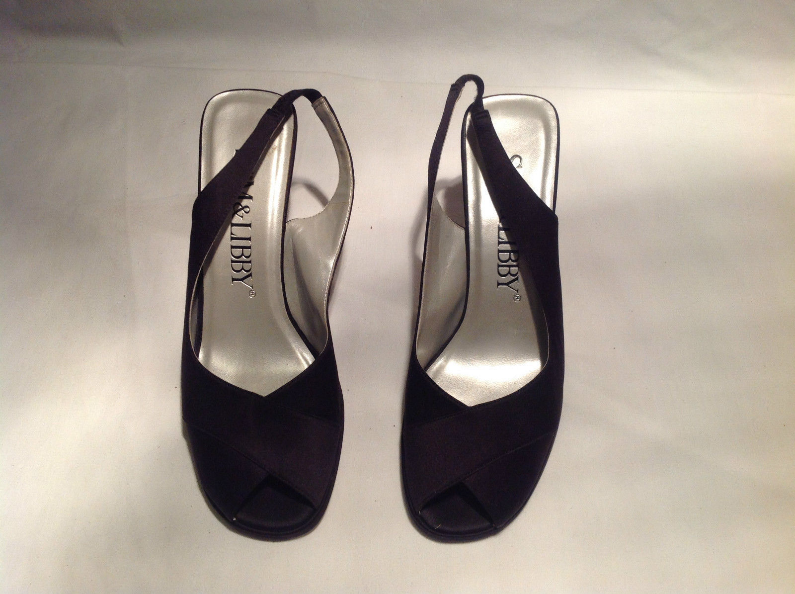 Sam and Libby Black Heels Fabric Upper Leather Sole Size 7 Medium