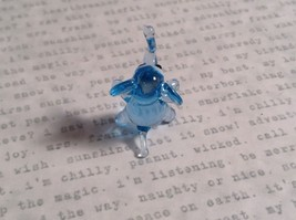 Micro miniature small hand blown glass light blue elephant  USA made image 4