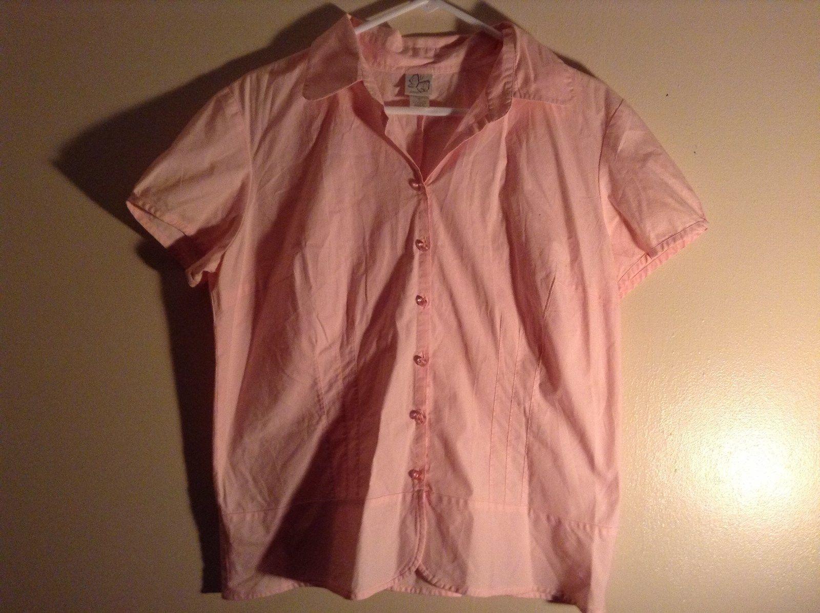 Salmon Pink Button Up Stretch Short Sleeve Shirt Size XL