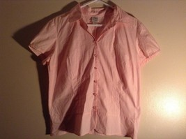 Salmon Pink Button Up Stretch Short Sleeve Shirt Size XL