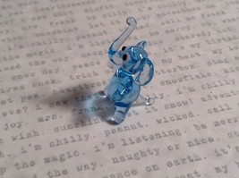 Micro miniature small hand blown glass light blue elephant  USA made image 3