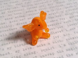 Micro miniature small hand blown glass orange elephant USA made image 4