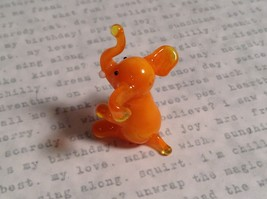 Micro miniature small hand blown glass orange elephant USA made image 2