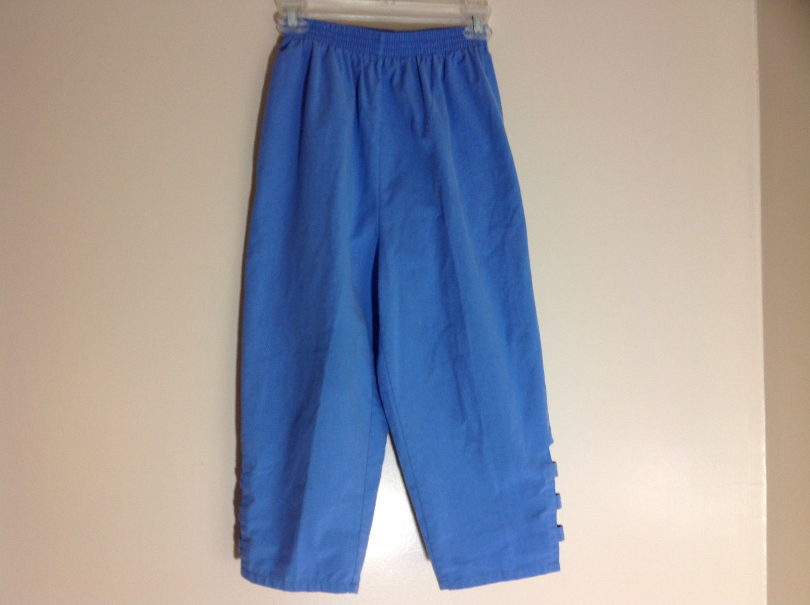 Salem Straits Blue Long Pants Elastic Waist Cutout with Buttons Size Small