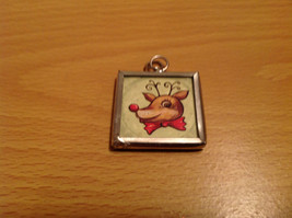 Santa and Reindeer Metal and Glass Tag Charm Present Tie On Reversible Versatile