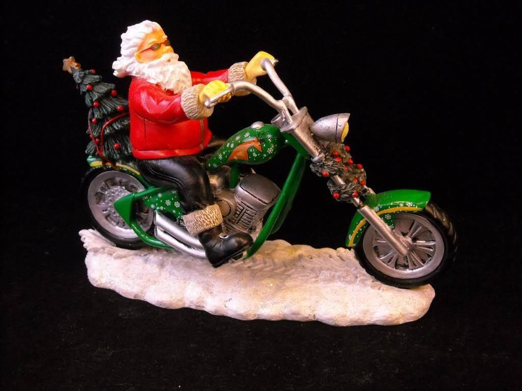 Santa Figurine on Motorcycle Style Holly Chopper Christmas