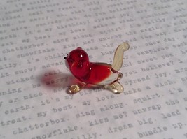 Micro miniature small hand blown glass red and clear cat USA made image 2