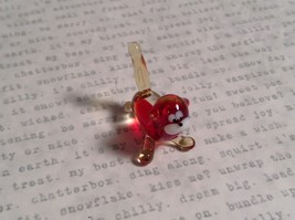 Micro miniature small hand blown glass red and clear cat USA made image 5