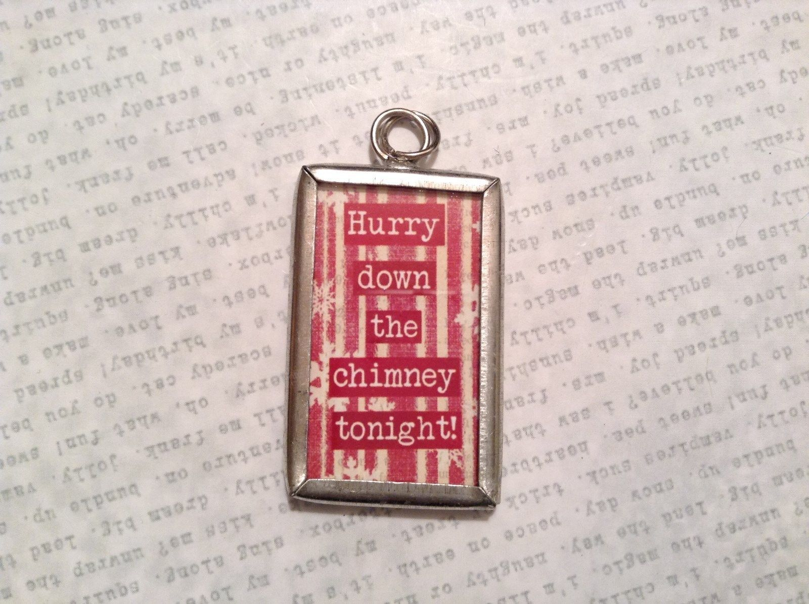 Santa Baby Charm Present Tie On Versatile Reversible Tag Metal Glass Tag