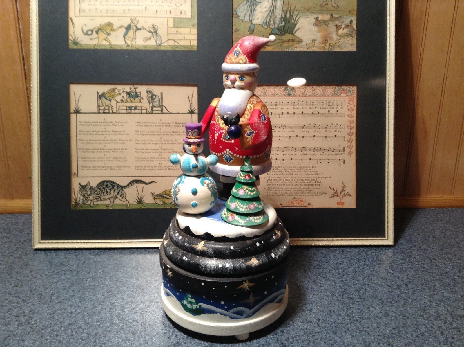 Santa Music Box Turn Top to Wind Up with Snowman Christmas Tree Russian