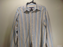 Saks Fifth Avenue Size L 100 Percent Cotton Long Sleeve Button Up Striped Shirt