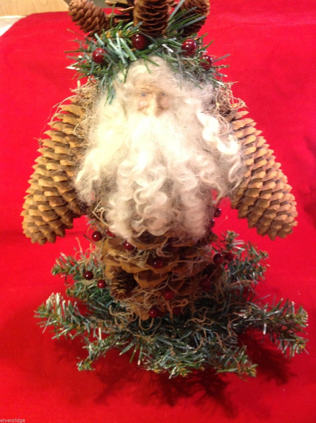 Santa figurine made of giant  pine cone and others