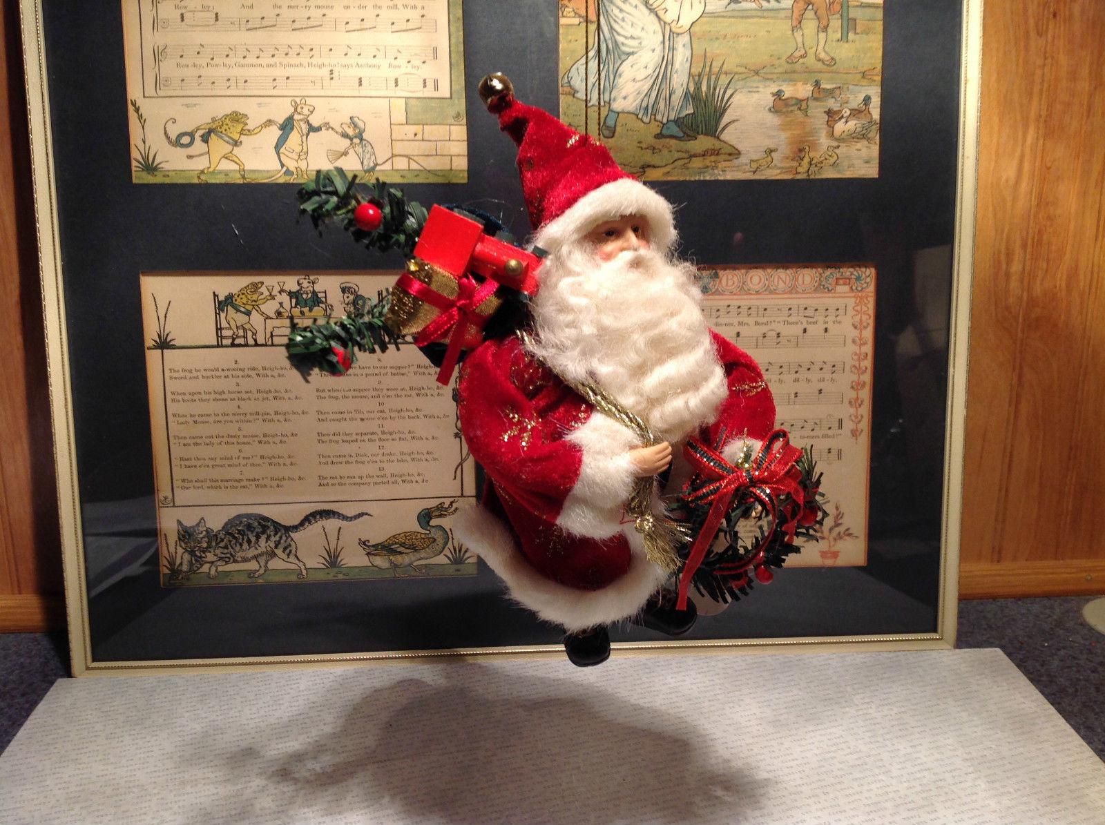 Santa with Presents Wreath Fabric Coat Ornament