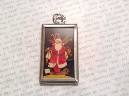 Santa with Toys Charm Present Tie On Versatile Reversible Tag Metal Glass Tag