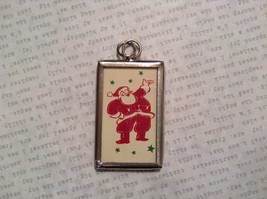 Santa and Believe Charm Present Tie On Versatile Reversible Tag Metal Glass Tag