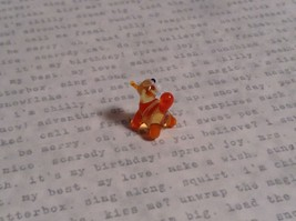 Micro miniature small hand blown glass striped orange cat w/ whiskers USA  NIB image 4