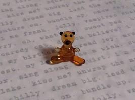 Micro miniature small hand blown glass tiny figurine amber bear USA  NIB image 2
