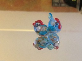 Micro miniature small hand blown glass sitting chicken hen in color choice image 4