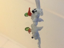 Micro miniature small hand blown glass white rabbit with carrot USA made image 4