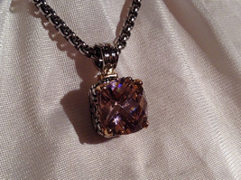 Pink Square 16 CT CZ Stone White Gold Rhodium Pendant Necklace Adjustable Length image 4