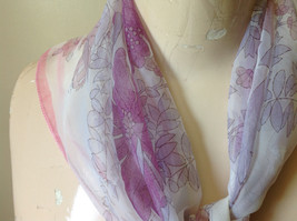 Pink White Fuchsia Flowered Square Fashion Scarf by Hanfei Lightweight Material image 4