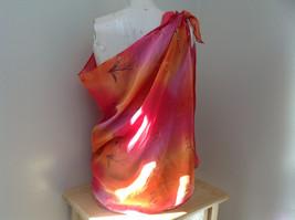 Pink Red Orange Skirt Tie Beach Coverup Black Gold Flower Design Ties at Waist image 2