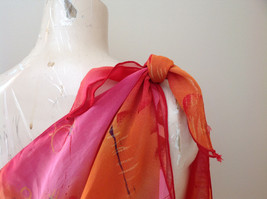 Pink Red Orange Skirt Tie Beach Coverup Black Gold Flower Design Ties at Waist image 3
