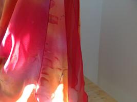 Pink Red Orange Skirt Tie Beach Coverup Black Gold Flower Design Ties at Waist image 5