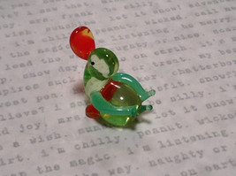 Mini Figurine Hand Blown Glass Light Green Duck Made in USA image 2