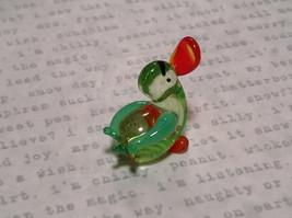 Mini Figurine Hand Blown Glass Light Green Duck Made in USA image 3