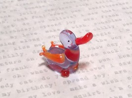 Miniature small hand blown glass clear and orange duck made USA NIB image 3
