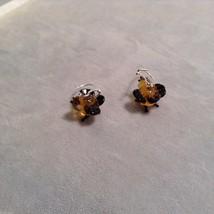 Miniature small hand blown glass made USA NIB orange black bird  earrings image 3