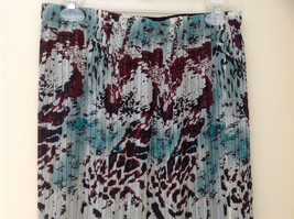 Mint with Brown Black Design Calf Length Pleated Skirt Size Small Medium image 2