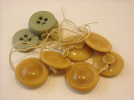 Mixed lot of black vintage buttons molded in brown yellow green image 4