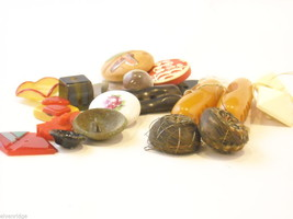 Mixed lot of vintage buttons in unusual shapes violin shoes pyramids cube image 2