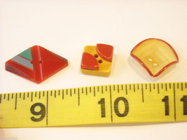 Mixed lot of vintage buttons in unusual shapes violin shoes pyramids cube image 7