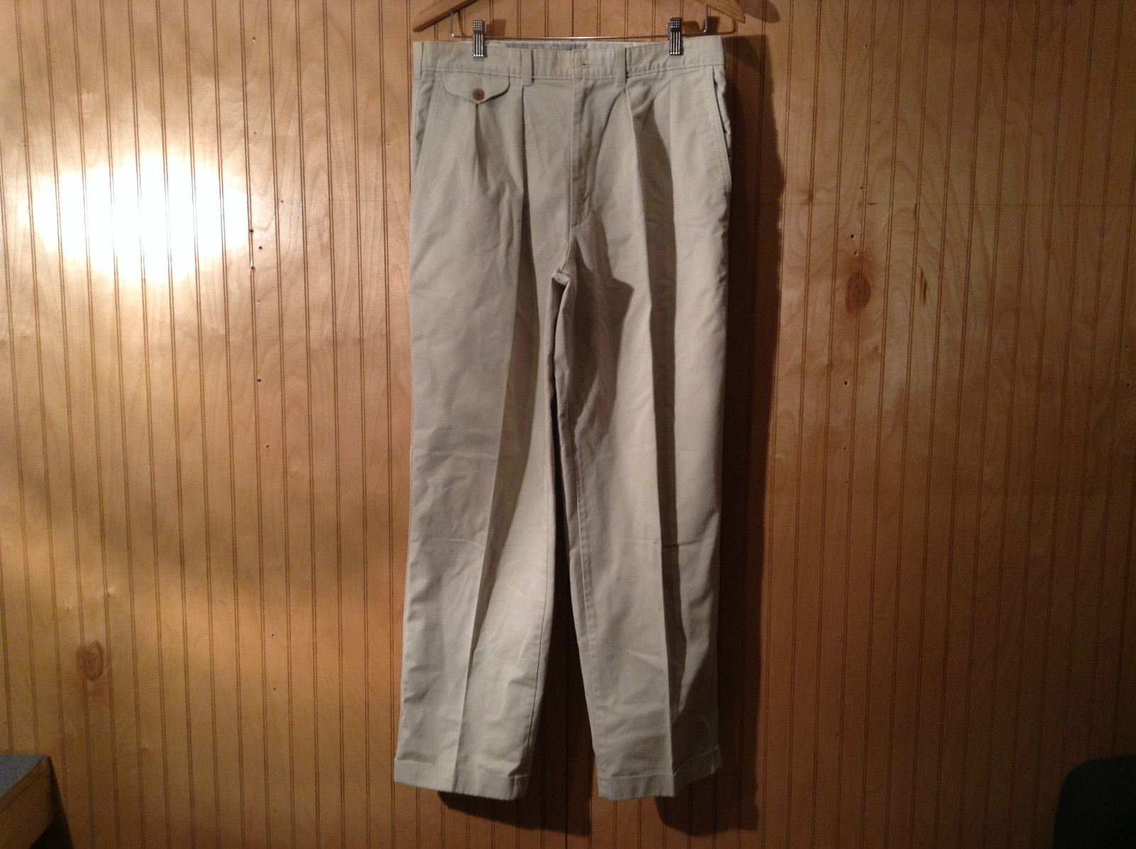 Savane Process 2000 Pleated Front Tan Gray Pants No Size Tag Measurements Below